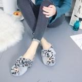Cozy Soft Plush Fleece Single Leopard Print Cross Open Toe Slides Indoor Outdoor House Winter Warm Slippers