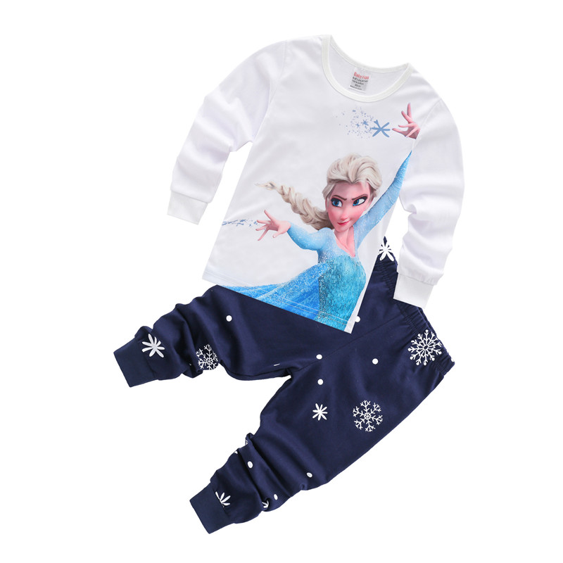 Toddler Girl Print Frozen Alsa Pajamas Sleepwear Long Sleeve Tee & Snowflake Leggings 2 Pieces Sets