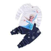 Toddler Girl Print Frozen Alsa Pajamas Sleepwear Long Sleeve Tee & Snowflake Leggings 2 Pieces Sets