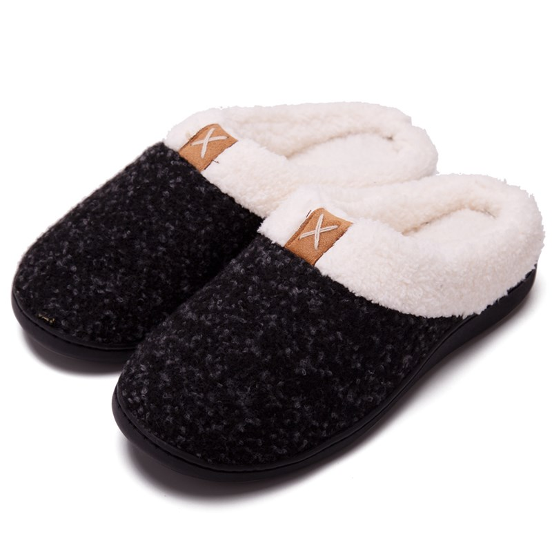 Couples Cozy Soft Plush Fleece Cotton Fluffy Ticken Indoor Home House Winter Warm Slippers