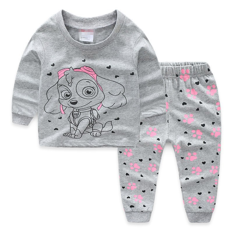 Toddler Girl Print PAW Patrol Pajamas Sleepwear Long Sleeve Tee & Dog Footprints Leggings 2 Pieces Sets