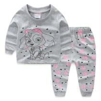 Toddler Girl Print PAW Patrol Pajamas Sleepwear Long Sleeve Tee & Dog Footprints Leggings 2 Pieces Sets