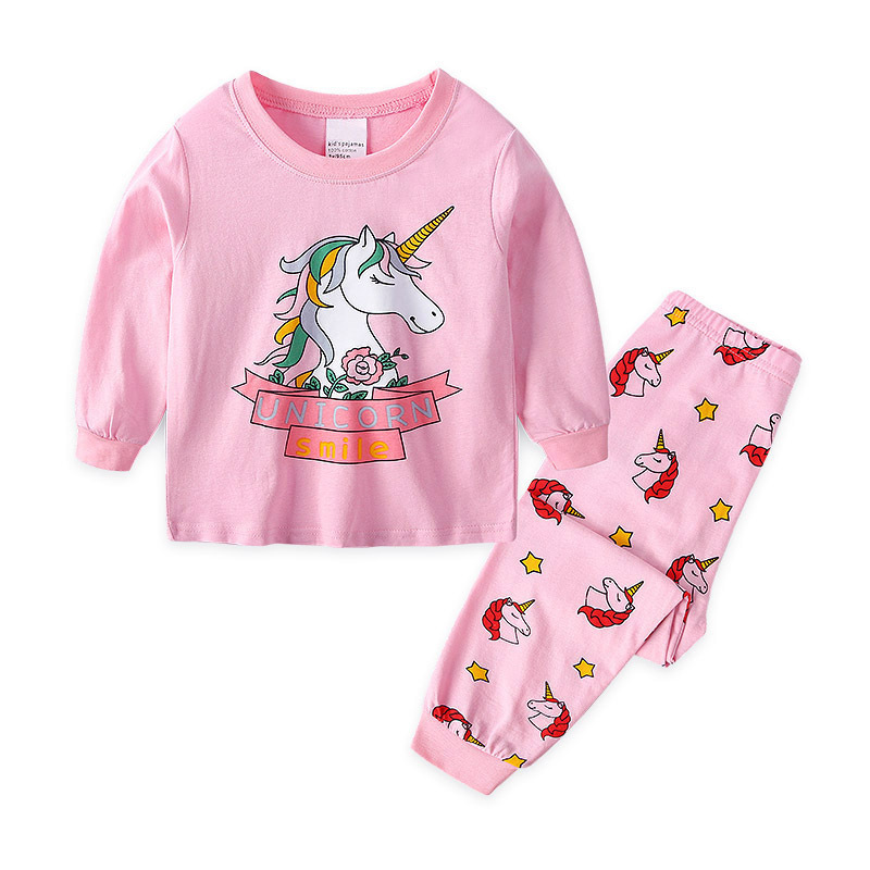 Toddler Girl Pink Print Cartoons Unicorn Smile Pajamas Sleepwear Long Sleeve Tee & Leggings 2 Pieces Sets
