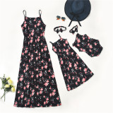 Mommy and Me Matching Printing Flowers Sling Maxi Black Dresses