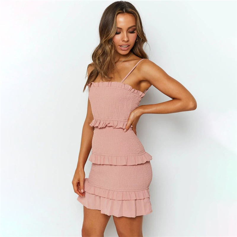 Women Multilayer Pleated Ruffles Sling Mini Dress