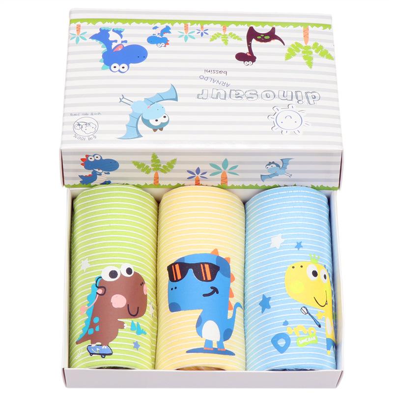 Kid Boys 3 Packs Dinosaurs Boxers Brief Cotton Cartoon Underwear