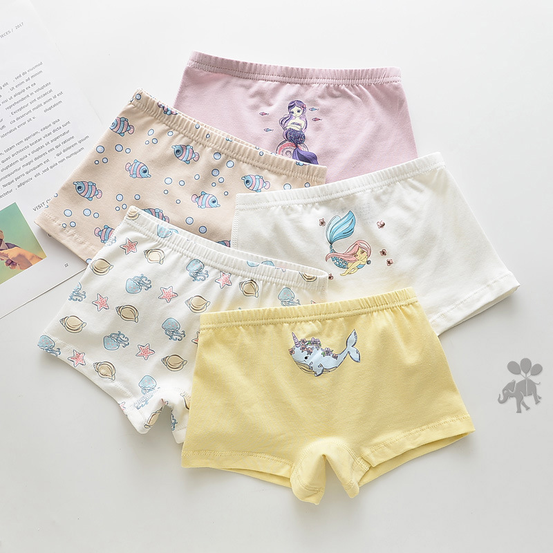 Kid Girls 5 Packs Print Mermail Fish Seastars Boxer Briefs Cotton Underwear