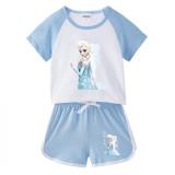 Toddler Kids Girl Frozen Princess Flowers Summer Short Pajamas Sleepwear Set Cotton Pjs