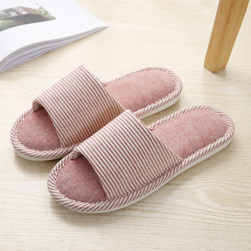 Couples Cozy Soft Striped Memory Foam Cotton Linen Open Toe Slides House Home Slippers