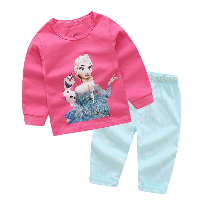 Toddler Girl Print Disney Alsa Snowman Pajamas Sleepwear Long Sleeve Tee & Blue Leggings 2 Pieces Sets