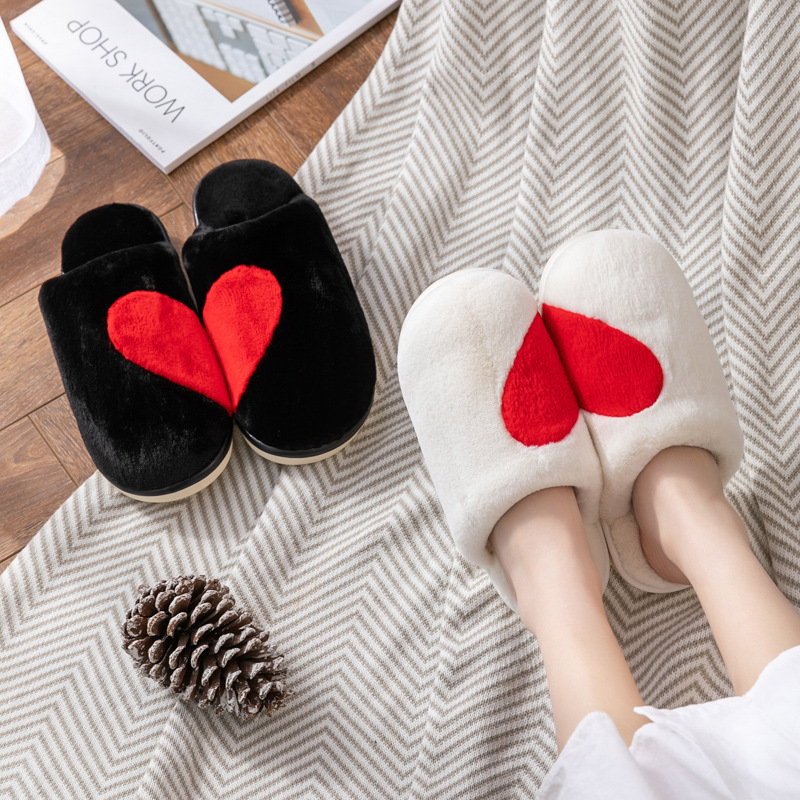 Couples Cozy Soft Plush Fleece Love Heart Slides Indoor House Winter Warm Slippers