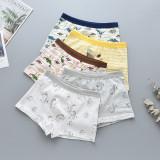 Kid Boys 5 Packs Print Dinosaurs Cartoon Boxer Briefs Cotton Underwear