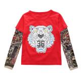 Toddler Boys Prints Tiger Slogan Tattoo Skeleton Splicing Long Sleeve Tee