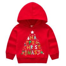 Toddler Kids Merry Christmas Tree Slogan Letters Hooded Sweatshirt
