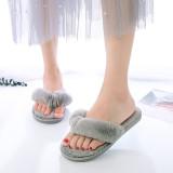 Cozy Soft Plush Fleece Open Toe Flip Flops Ticken Slingback Slides Indoor Outdoor House Winter Warm Slippers