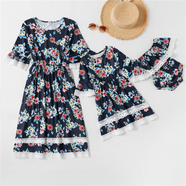 Mommy and Me Matching Lace Floral Round Neck Navy Dresses