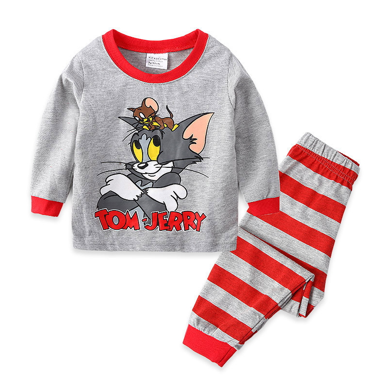 Toddler Boy Print Cartoon Tom and Jerry Mouse Cat Pajamas Sleepwear Long Sleeve Tee & Red Stripes Leggings 2 Pieces Sets