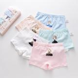 Kid Girls 5 Packs Print Little Girl Boxer Briefs Cotton Cartoon Underwear
