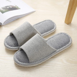 Couples Cozy Soft Striped Memory Foam Cotton Linen Open Toe Slides House Home Slippers