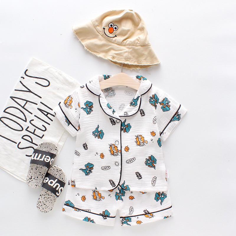 Toddler Kids Boy Prints Dinosaurs Giraffes Elephants Summer Short Pajamas Cotton Sleepwear Set