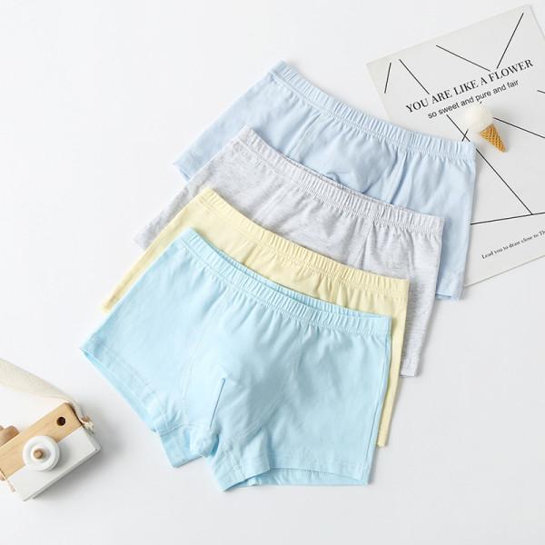 Kid Boy 4 Packs Pure Color Boxer Briefs Cotton Underwear