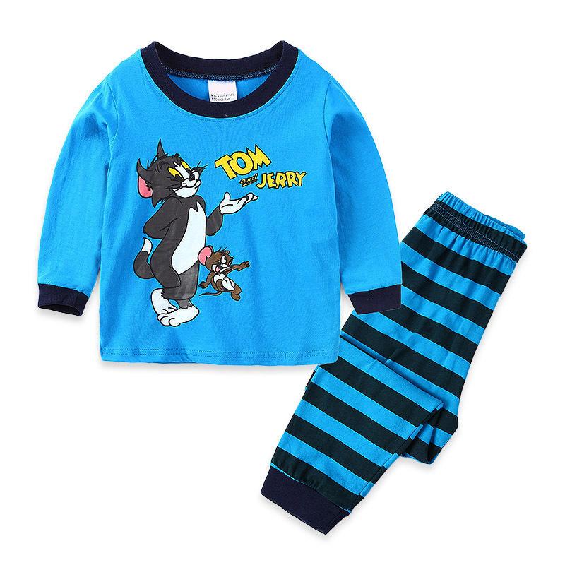 Toddler Boy Print Cartoon Tom and Jerry Mouse Cat Pajamas Sleepwear Long Sleeve Tee & Black Stripes Leggings 2 Pieces Sets