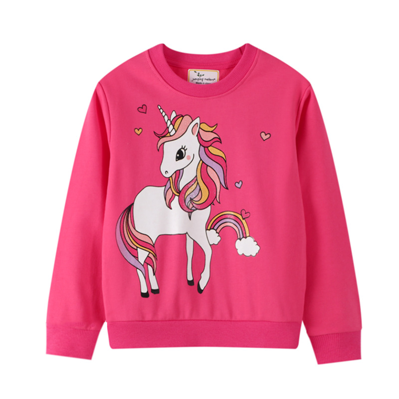 Toddler Girl Pink Unicorn Pattern Long Sleeve Sweatshirts