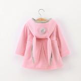 Toddler Kids Girl Rabbit Ears Windbreaker Cotton Hooded Outerwear Coats