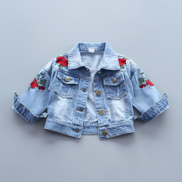 Toddler Kids Girl Embroidery Red Rose Denim Jacket Outerwear