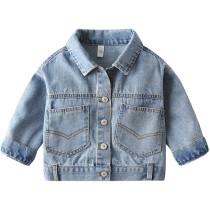 Toddler Kids Boy Blue Denim Pockets Jacket Outerwear