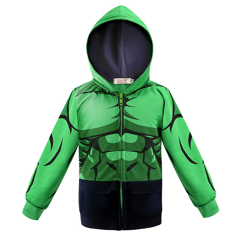 Toddler Kids Boy Marvel Superhero Green The Hulk Hooded Outerwear Coats