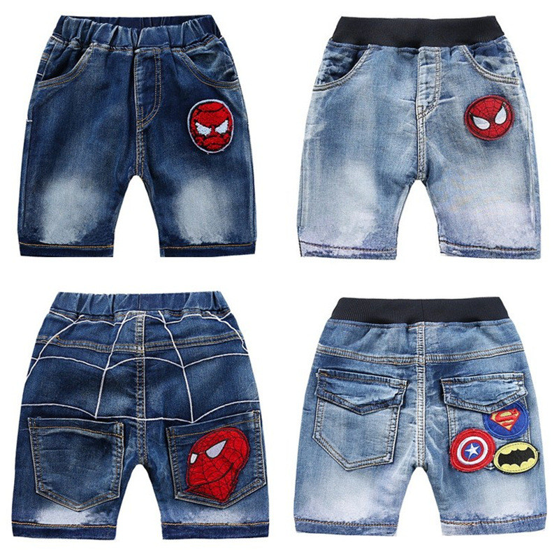 Toddler Boys Print Superman Spider Man Denim Summer Shorts