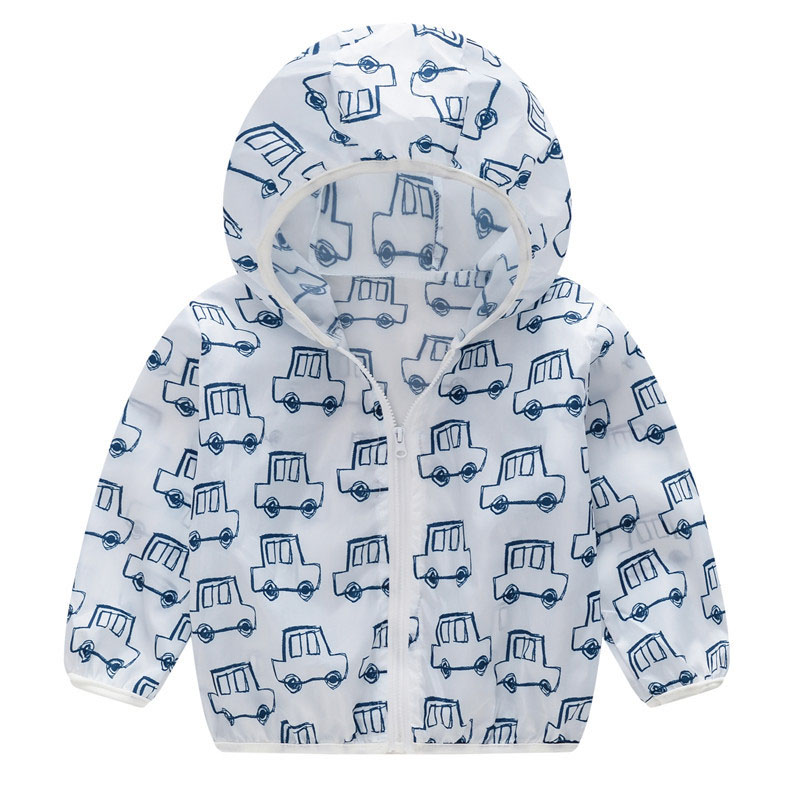 Toddler Kids Boy Print Cars Breathable Lightweight Sunscreen Outerwear Coats