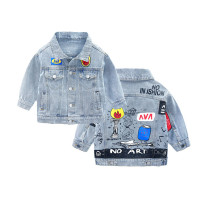 Toddler Kids Boy Painting Torch Letters Denim Jacket Outerwear