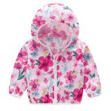 Toddler Kids Girl Print Flowers Breathable Lightweight Sunscreen Outerwear Coats