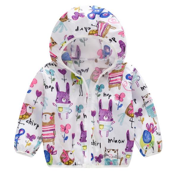 Toddler Kids Girl Print Rabbits Breathable Lightweight Sunscreen Outerwear Coats