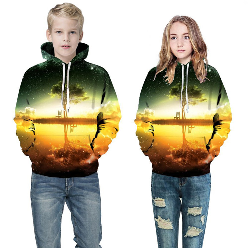 Toddler Kids Boy 3D Print Sunset Scenery Lake Tree Hooded Sweatshirts