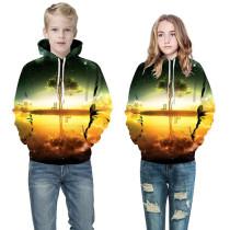 Toddler Kids Boy 3D Print Sunset Scenery Lake Tree Hooded Sweatshirts