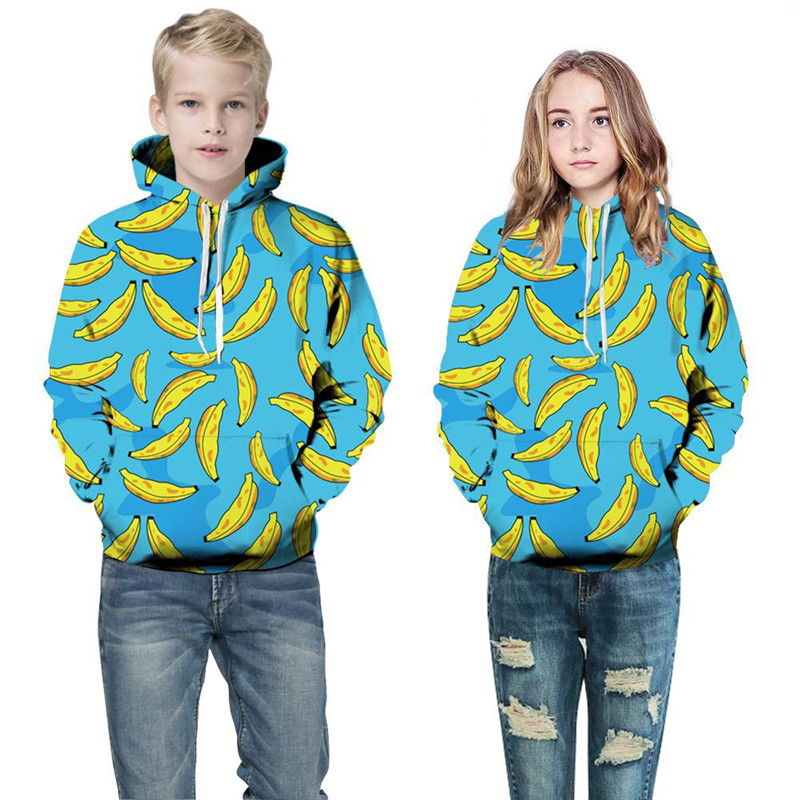 Toddler Kids Boy Girl 3D Print Bananas Hooded Sweatshirts