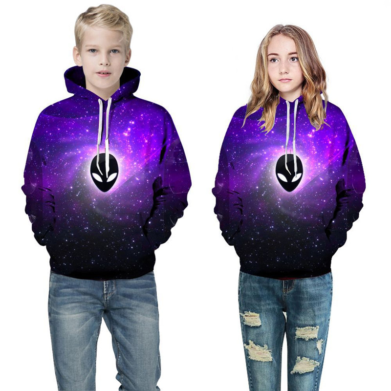 Toddler Kids Girl Boy 3D Print Purple Space Alien Ufo Hooded Sweatshirts