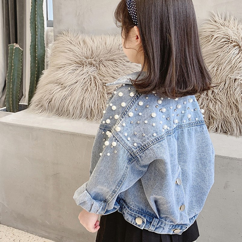 Toddler Kids Girl Pearl Denim Jacket Outerwear