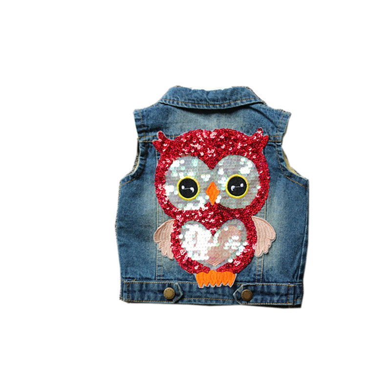 Toddler Kids Girl Sequins Owl Denim Vest Jacket Outerwear