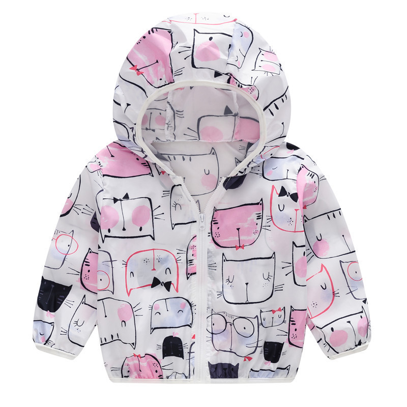 Toddler Kids Girl Print Cats Breathable Lightweight Sunscreen Outerwear Coats
