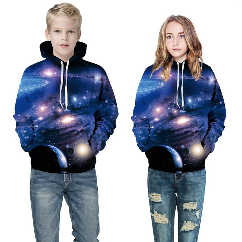 Toddler Kids Girl Boy 3D Nebula Universe Hooded Sweatshirts