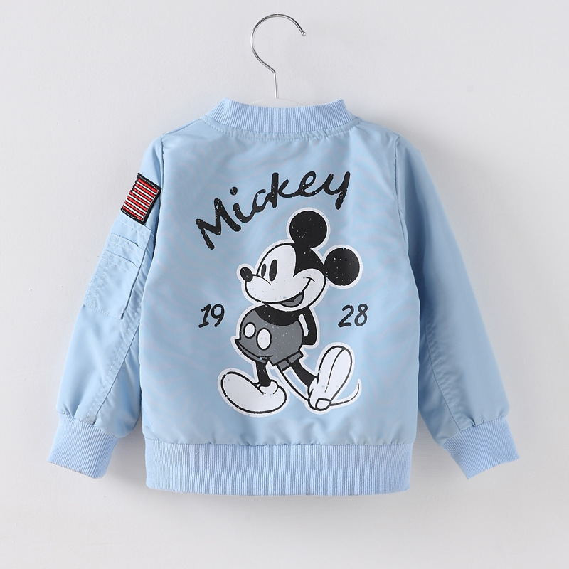 Toddler Kids Boy Mickey Back Bomber Jacket Outerwear