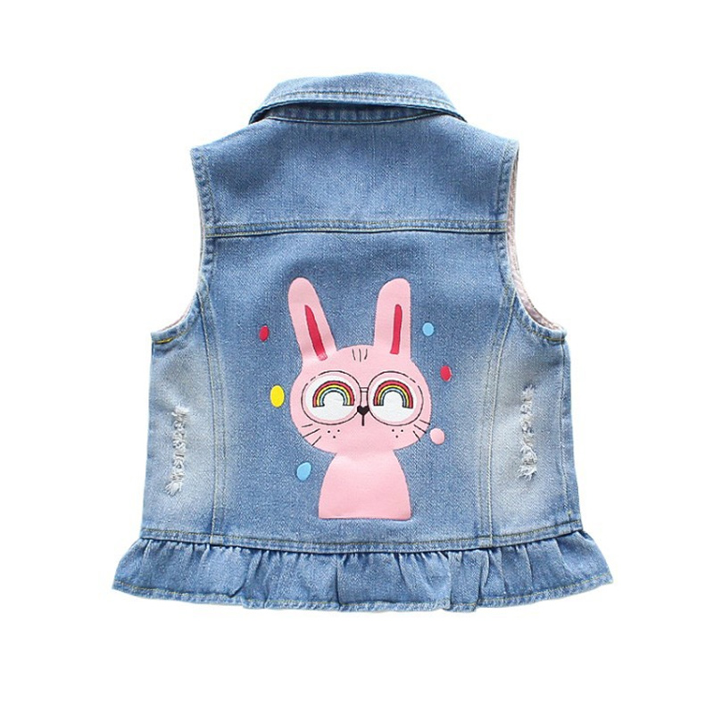 Toddler Kids Girl Print Cute Glasses Rabbit Denim Vest Jacket Outerwear