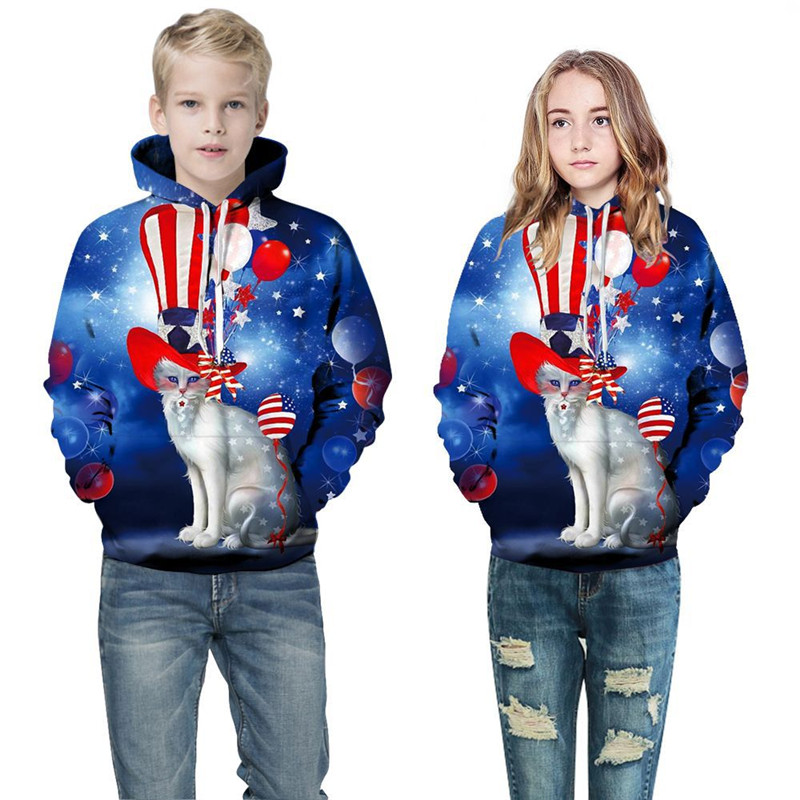 Toddler Kids Boy 3D Print Magician Cat Hooded Sweatshirts