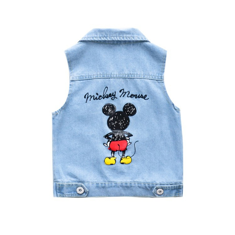 Toddler Kids Boy Print Mickey Mouse Denim Vest Jacket Outerwear
