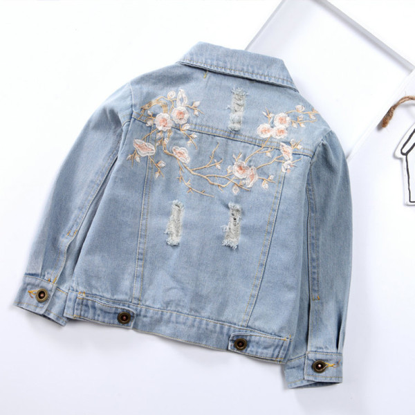 Toddler Kids Girl Embroidery Peach Blossom Denim Jacket Outerwear