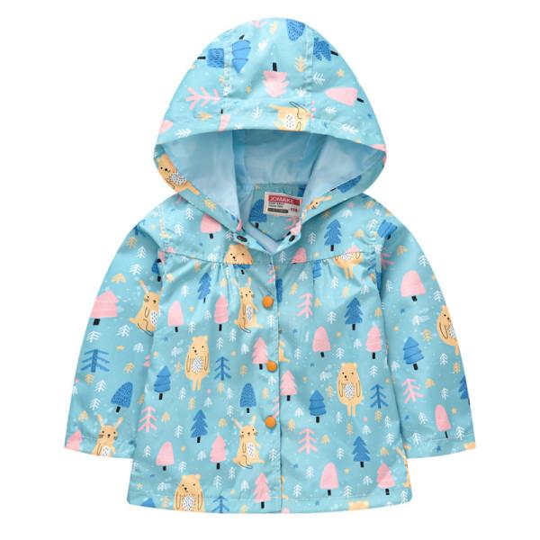 Toddler Kids Girl Print Flowers Rabbits Windproof Rainproof Zipper Outerwear Coats